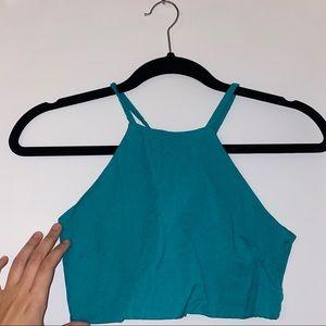 Women Turquoise Crop Top